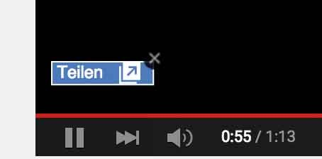 Share Button auf youtube Video