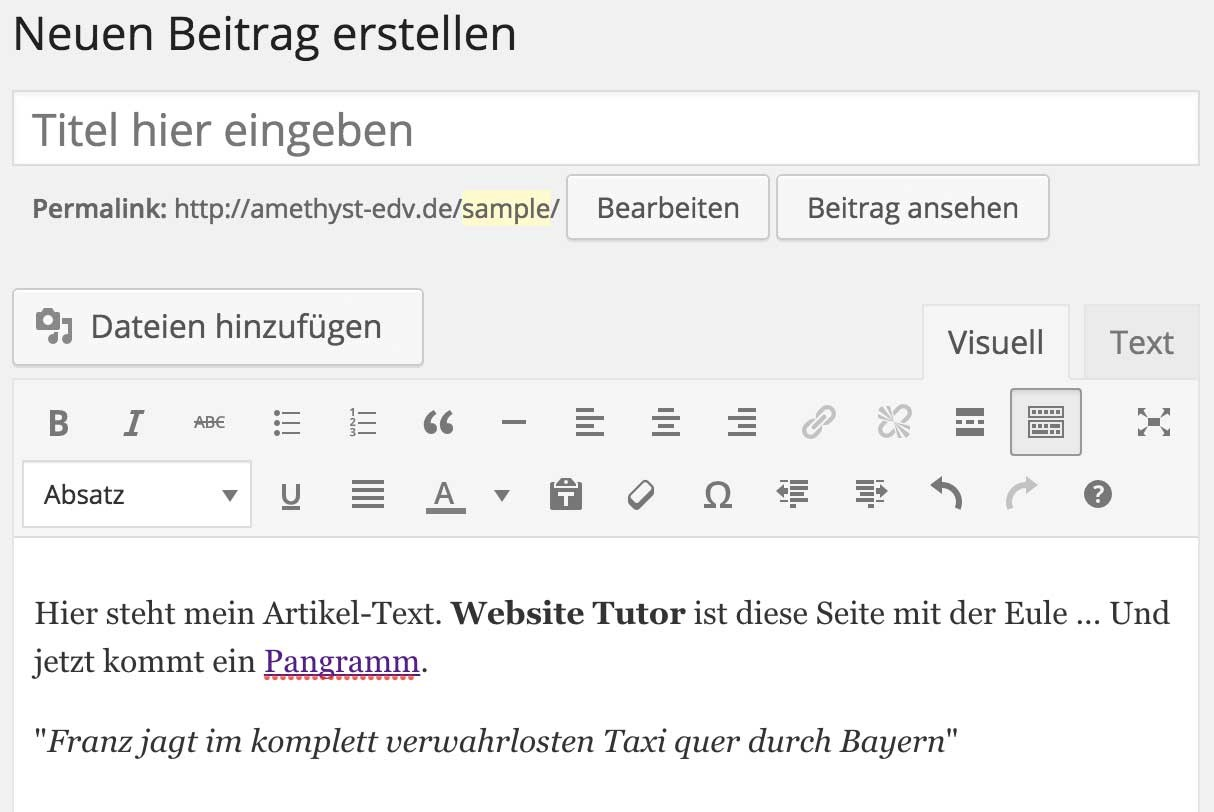 WYSIWYG Editor in WordPress