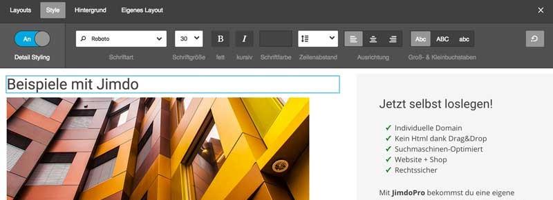 Jimdo Detail Editor