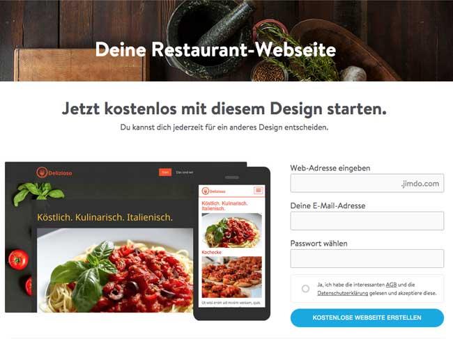 Restaurant Website mit Jimdo