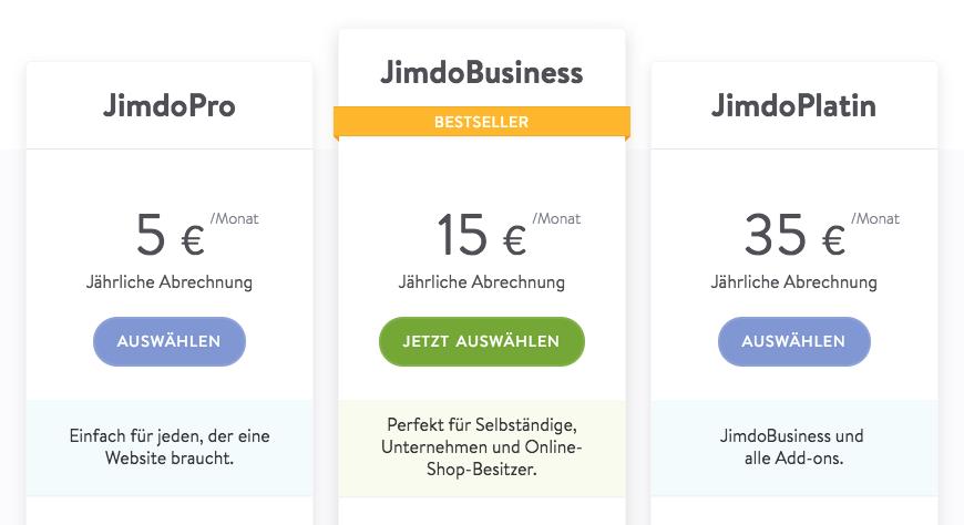 JimdoPlatin in der Preisliste