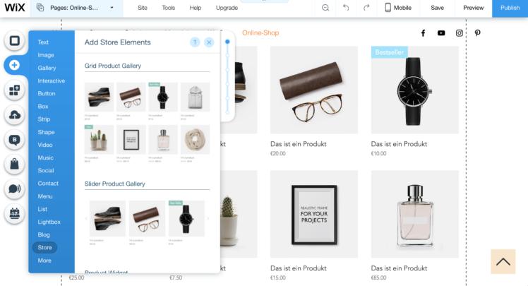 wix online shop