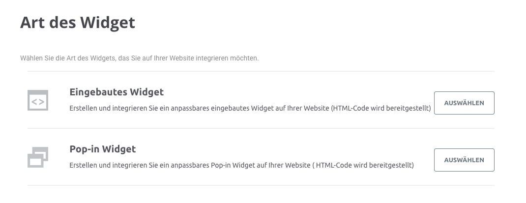 Eingebautes Widget oder Pop-in Widget