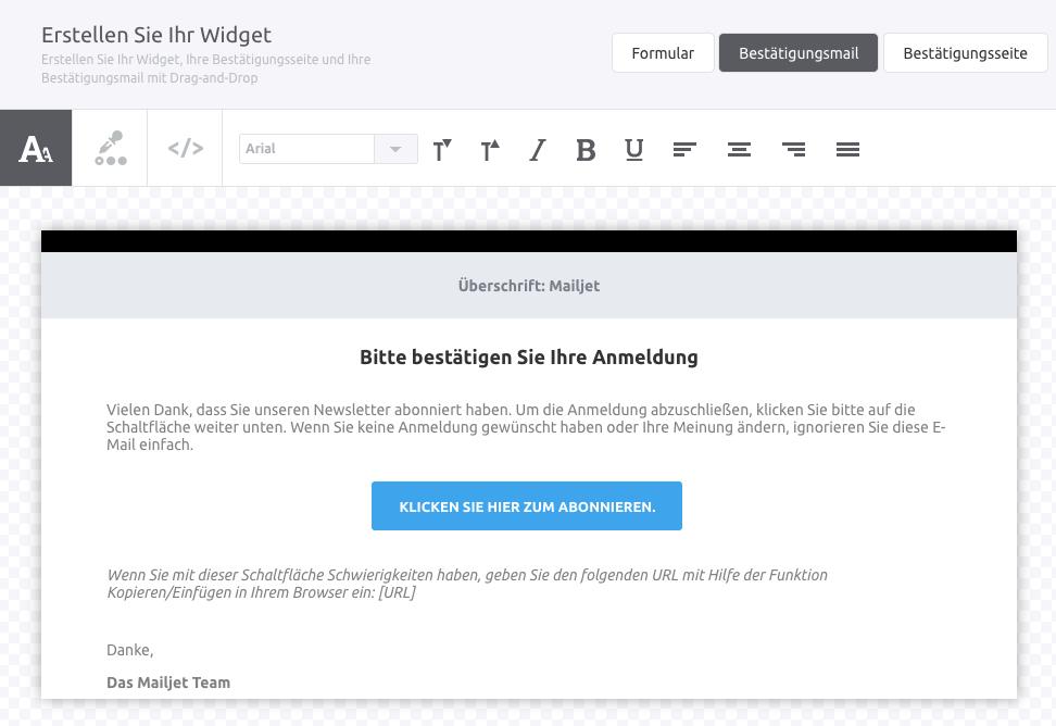 Widget Bestätigungsmail Mailjet