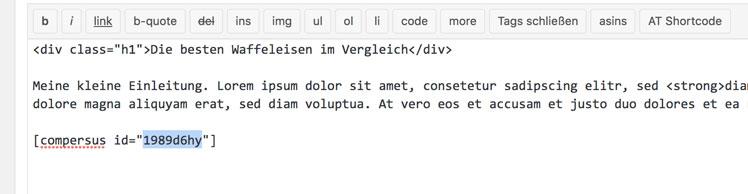 shortcode vergleichstabelle einbetten