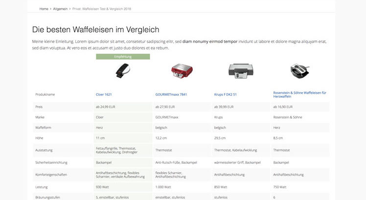 vergleichstabelle affiliate amazon wordpress plugin