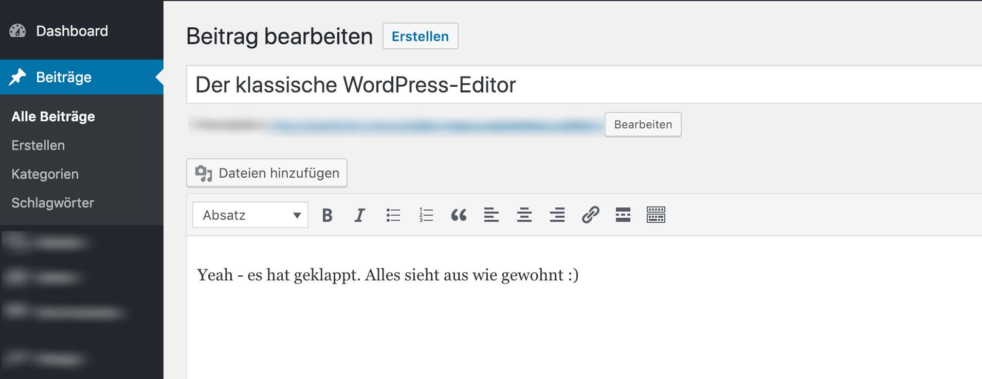 alter wordpress editor ohne Blöcke