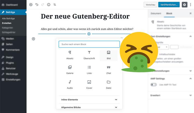den neuen gutenberg-editor in WordPress deaktivieren