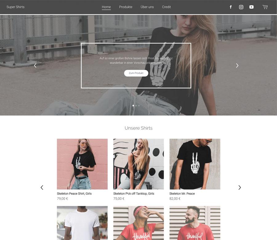 Website Beispiel mit dem Homepage Baukasten von Jimdo