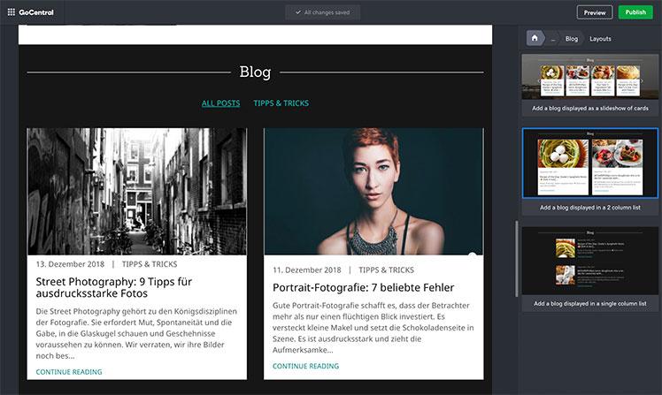 GoDaddy Blog Spalten Auswahl