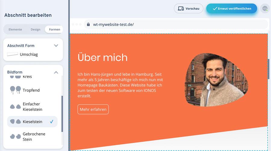 bilder im mywebsite editor von 1&1 IONOS