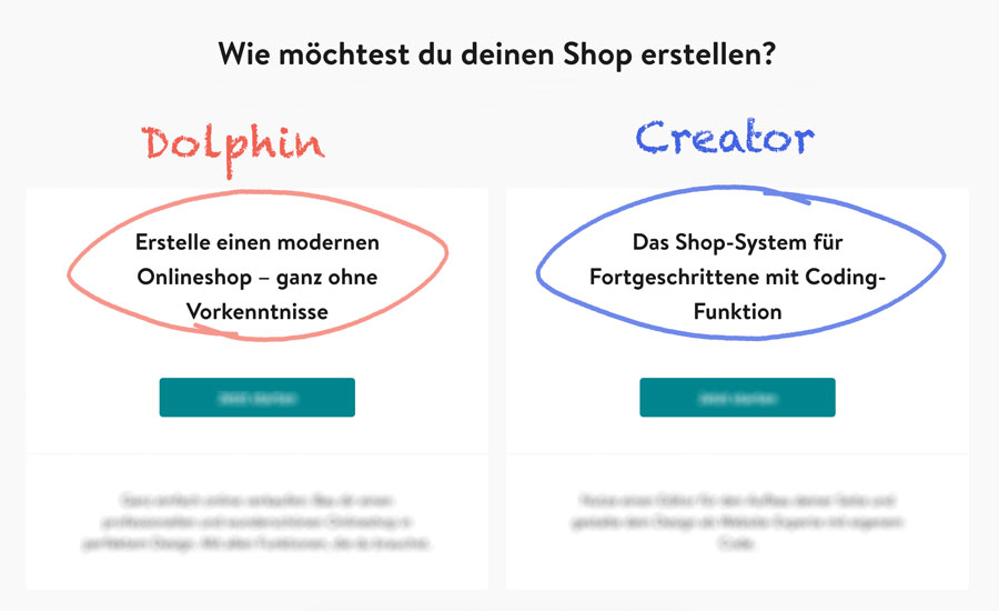 onlineshop dolphin vs creator