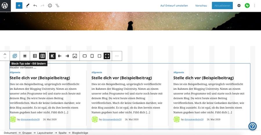 Blogtexte auf der Startseite