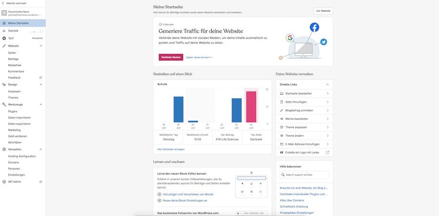 WordPress Hauptseite Einstellungen Statistik