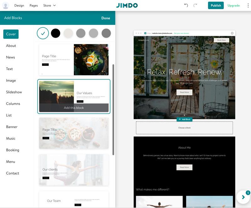 jimdo Website bauen - Blöcke auswählen